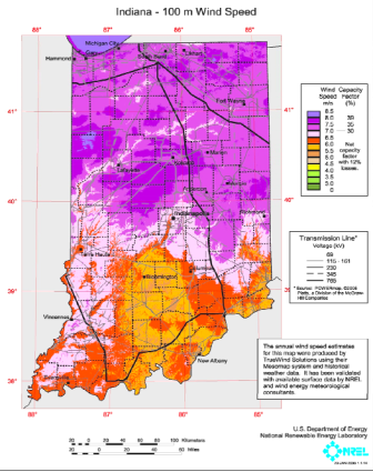 Map of 100-meters-per-second speeds across Indiana