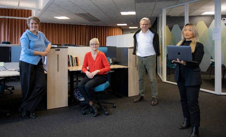 Per Christian Magnus (third from left) and colleagues in SUJO's offices in Norway.